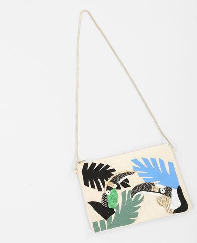 Kleine Handtasche mit Print Schwarz