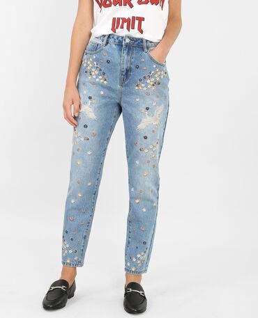 Mom-Jeans mit Stickereien Blau