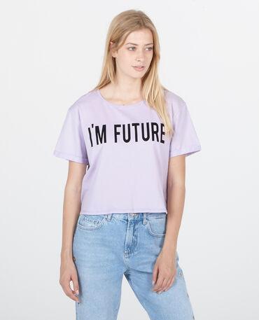 Cropped top à message violet