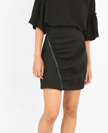 Mini jupe froncée noir