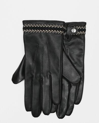 Handschuhe mit Borte Schwarz