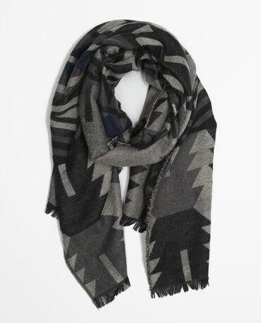 Plaid-Schal mit Ethno-Motiv Grau
