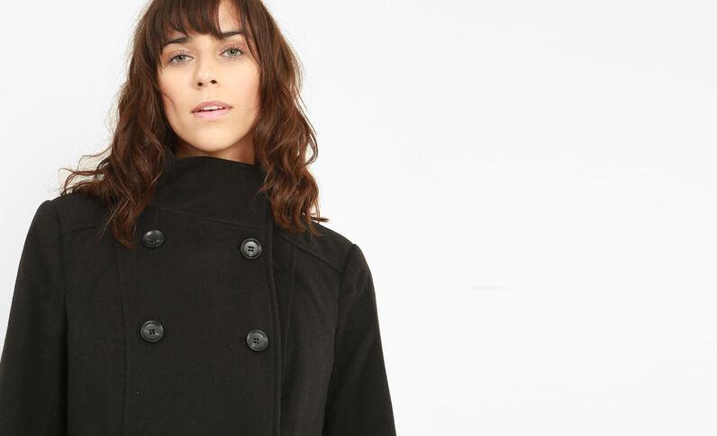 Mantel mit doppelter Knopfreihe Schwarz