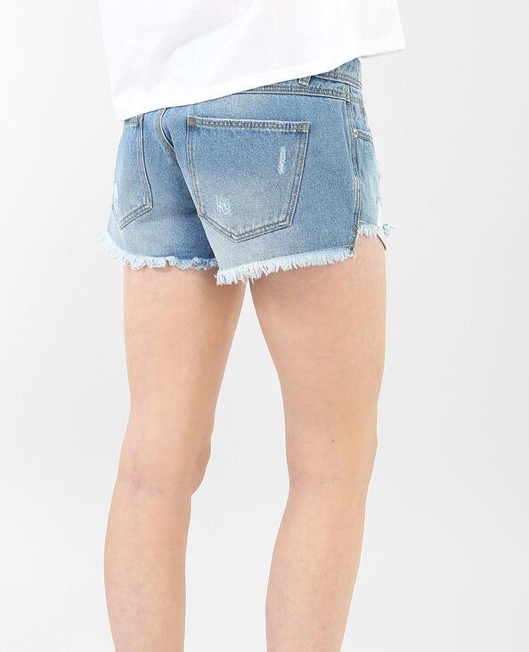 Destroyed-Shorts mit Bandana-Tuch Blau