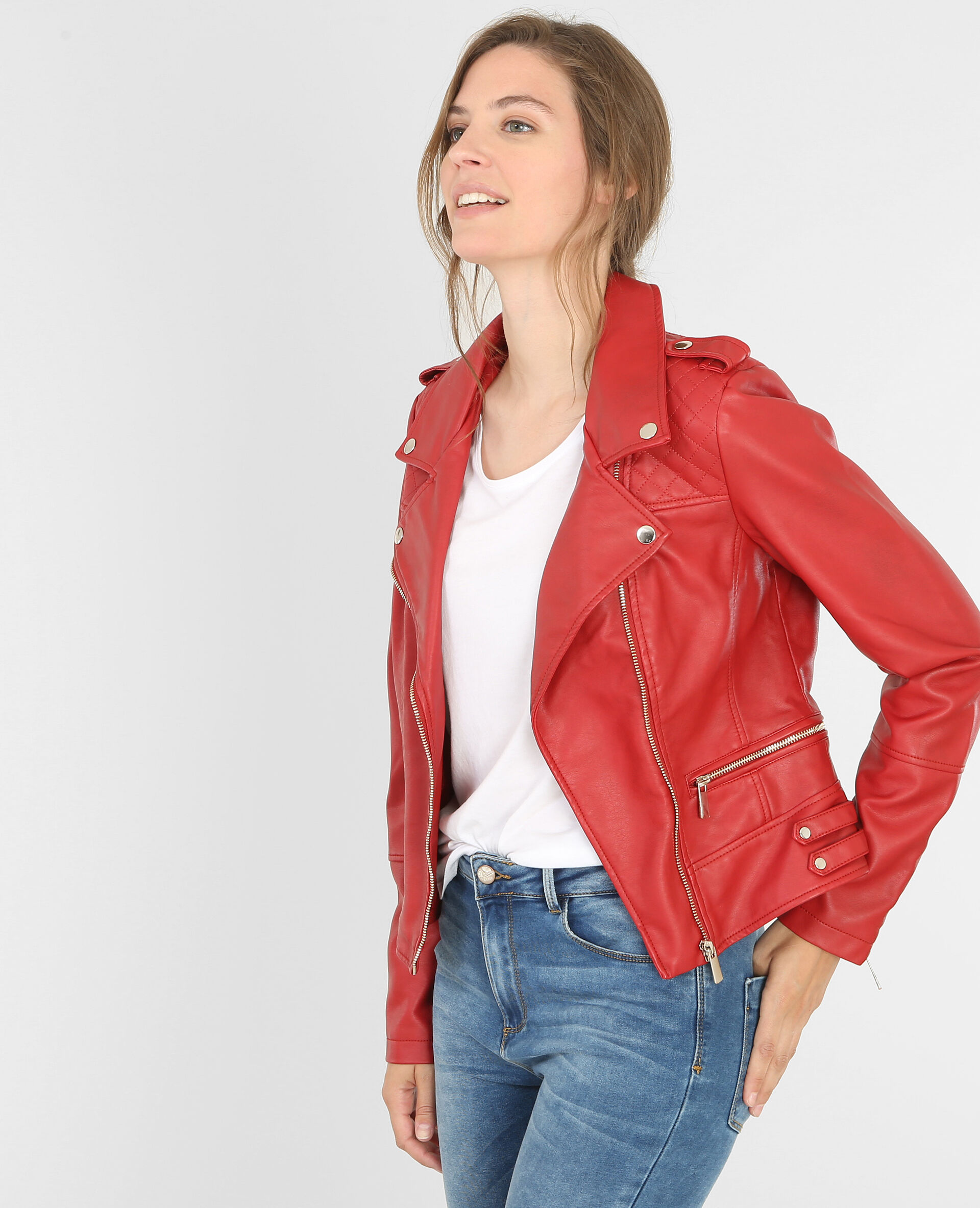 Veste en faux cuir rouge femme