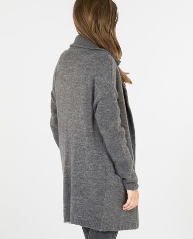 Cardigan lungo con collo a cappotto grigio