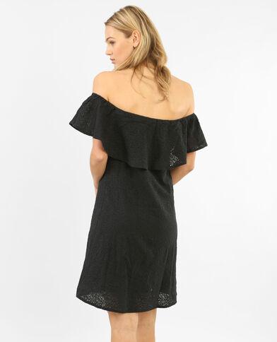 Robe dentelle col bardot noir