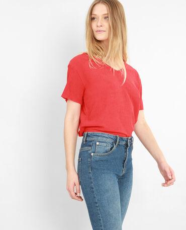 T-shirt texturé rouge
