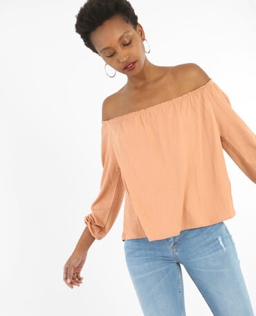 T-Shirt mit Bardot-Ausschnitt Braun