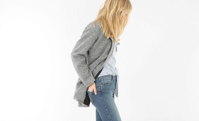 Blazer long drap de laine gris chiné