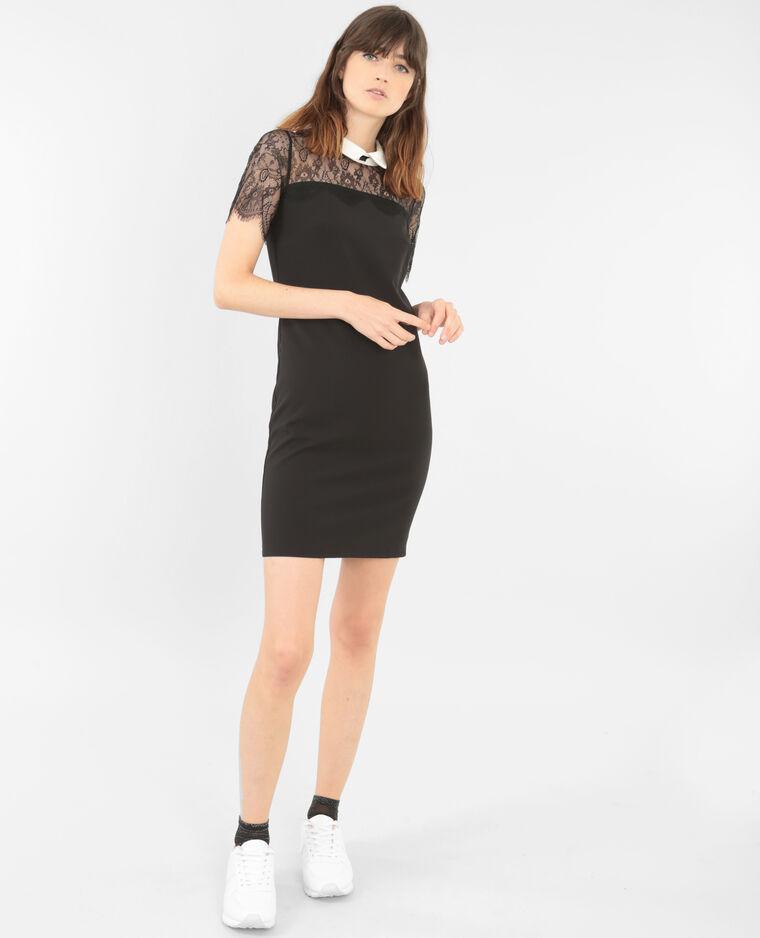 spitzen kleid mit wei em kragen schwarz 780530899f48. Black Bedroom Furniture Sets. Home Design Ideas