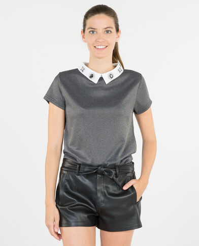 T-shirt gioielli con collo a camicia grigio