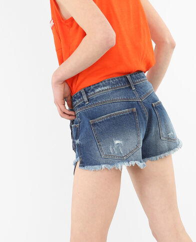 Mini short in jeans bandana blu