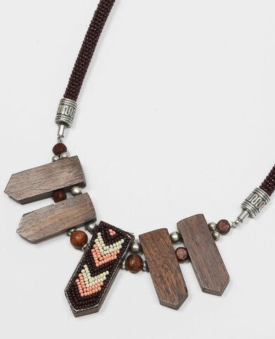 Collana legno e perle marrone
