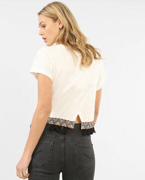 Cropped-T-Shirt mit Troddeln Altweiß