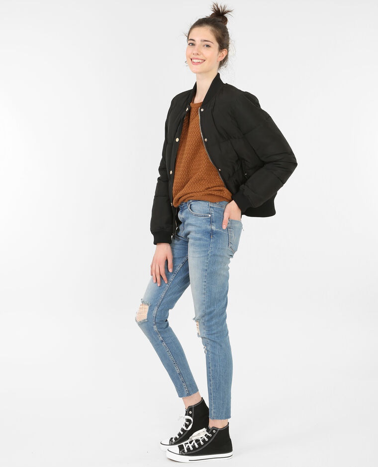 Pull col rond caramel