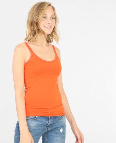 Débardeur dentelle orange