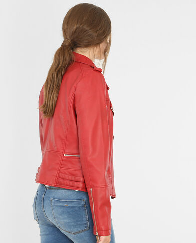 Veste style motard rouge