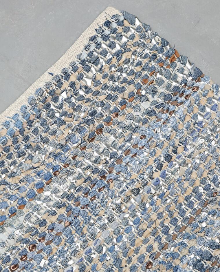 tapis tiss en jean et simili cuir bleu 955044680g07 pimkie. Black Bedroom Furniture Sets. Home Design Ideas