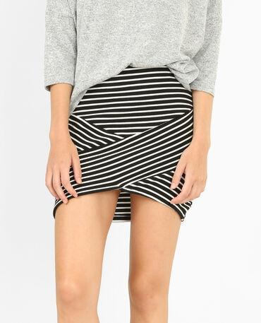 Mini jupe à rayures noir