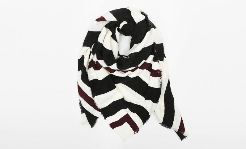 Quadratischer Schal, bedruckt Altweiß