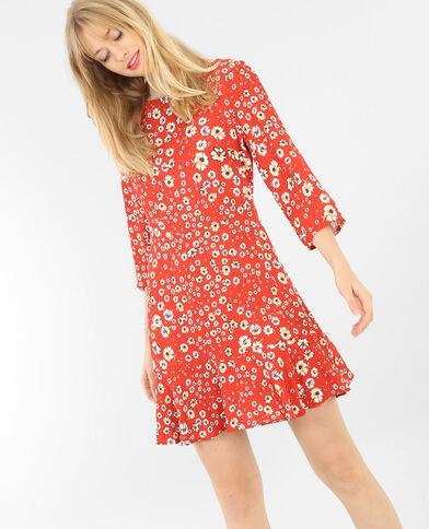 Geblümtes Kleid Rot