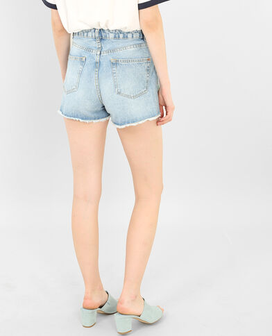 Short en jean imprimé toucans bleu denim