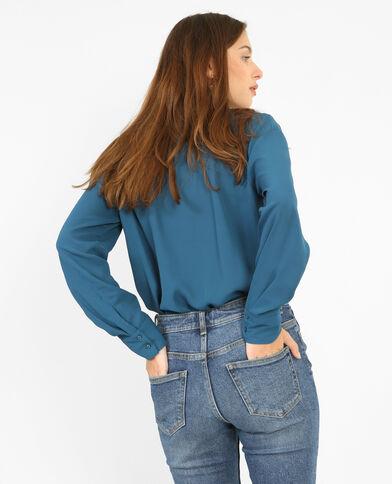 Blusa cuello cruzado azulón