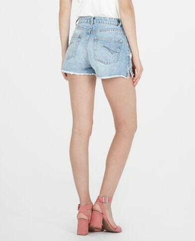 Short in jeans a vita alta blu denim