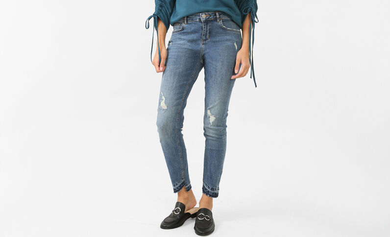 Jean skinny taille moyenne bleu