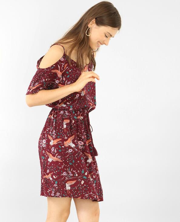 Soepele jurk met peekaboomouwen bordeauxrood