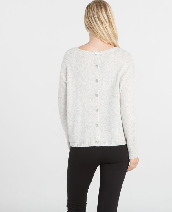 Pull boutonnage dos beige taupe