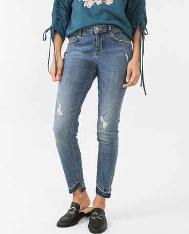 Mid Waist Skinny-Jeans Blau