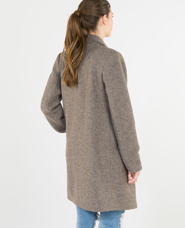 Gerade geschnittener Mantel aus Wollstoff Beige