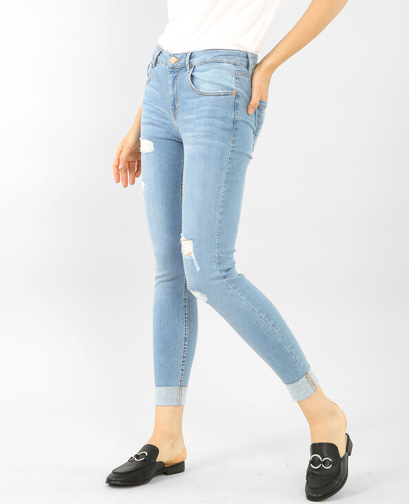 Umgeschlagene Skinny Destroy-Jeans Hellblau