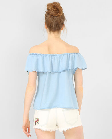 Top spalle scoperte denim blu