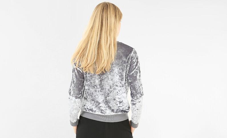 Velours-Sweatshirt Perlgrau