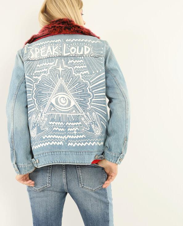 Jeansjacke mit Aufdruck Blau