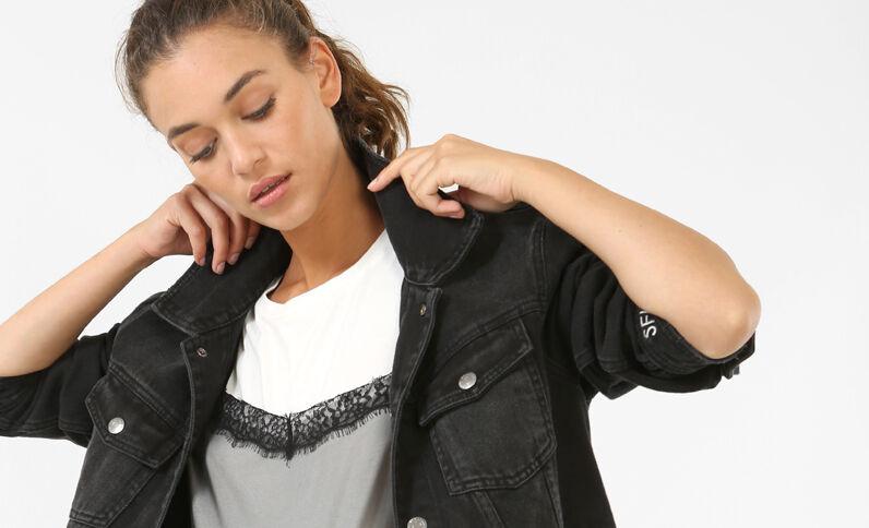 Giacca in jeans con messaggio grigio scuro