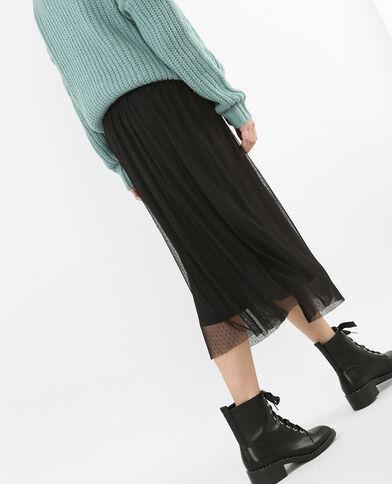 Falda midi de tul negro