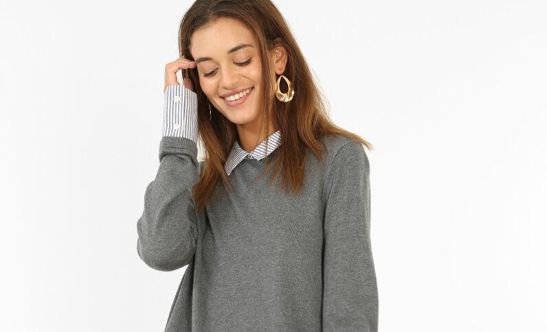 Hemd-Pullover Hellgrau meliert
