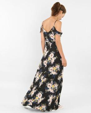 Langes Kleid mit Peekaboo-Ärmeln Schwarz