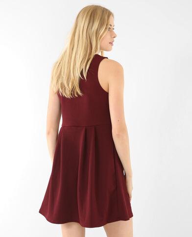 Skater-Kleid mit Schmuckkragen Granatrot