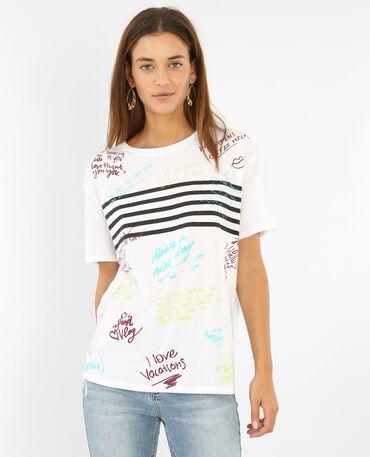 Camiseta con mensajes blanco