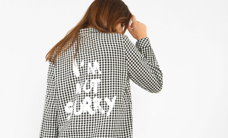 Chemise à message blanc cassé