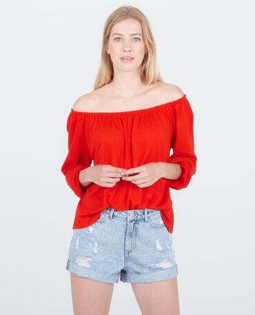 Bluse mit Bardot-Ausschnitt Rot