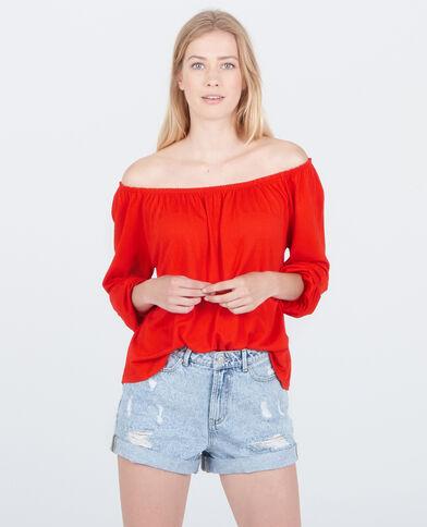 Blusa collo bardot rosso
