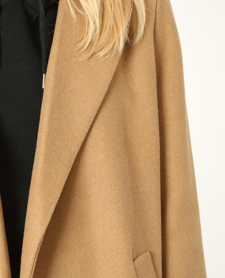 long manteau drap de laine caramel 280136721a07 pimkie. Black Bedroom Furniture Sets. Home Design Ideas