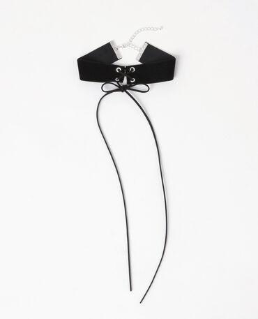 Choker-Halsband geschnürt Schwarz