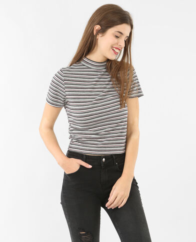 Camiseta crop acanalada gris jaspeado